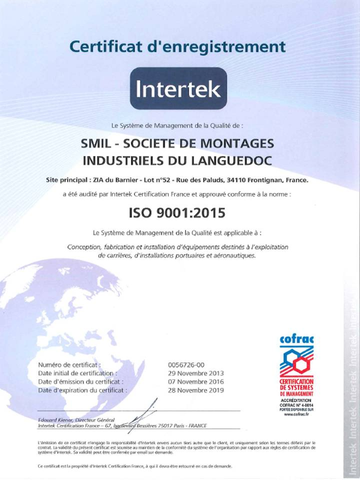 SMIL - certification ISO 9001 v 2015